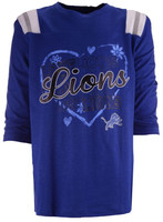 Detroit Lions Child/Youth Girl's Outerstuff Blue Love Raglan