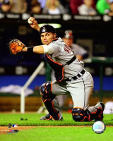 "Ivan Rodriguez Autographed & Inscribed ""HOF 17"" 16x20 Photo #1 - Catching (Pre-Order)"
