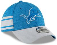 Detroit Lions Men's New Era Blue/Gray 2018 NFL Sideline Home Official 39THIRTY Flex Hat