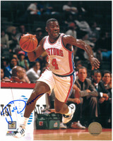 Joe Dumars Autographed Detroit Pistons 8x10 Photo #3 - Dribbling