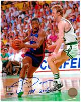 Joe Dumars Autographed Detroit Pistons 8x10 Photo #1 - with Larry Bird (HOF 2006 Inscription)