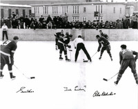 Gordie Howe, Ted Lindsay, and Alex Delvecchio Autographed Marquette Branch Prison Outdoor Game 16x20 Photo