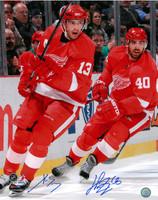 Pavel Datsyuk & Henrik Zetterberg Autographed Detroit Red Wings 16x20 Photo #1