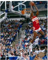 Dominique Wilkins Autographed Atlanta Hawks 8x10 Photo #1 - Reverse Slam