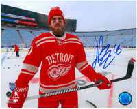 Henrik Zetterberg Autographed Detroit Red Wings 8x10 Photo #7 - Winter Classic Warm Up