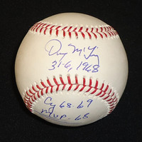 "Denny McLain Autographed Baseball - Official Major League Ball w/ ""31-6, 1968, Cy - 68/69, MVP - 68"""
