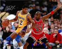 Magic Johnson Autographed LA Lakers 16x20 Photo #3 - vs. Michael Jordan