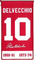 Alex Delvecchio Autographed Detroit Red Wings Retirement Banner