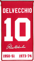 Alex Delvecchio Autographed Detroit Red Wings Retirement Banner