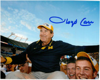 Lloyd Carr Autographed 8x10 Photo #3 - Carried Off the Field