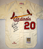 Lou Brock Autographed St. Louis Cardinals 1967 Home Mitchell & Ness Jersey