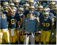 Lloyd Carr Autographed 8x10 Photo #2 - Ready for Action