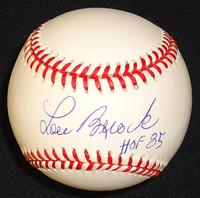 Lou Brock Autographed National League Baseball with HOF- Leonard Coleman Ball