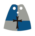 Crusader Blue Gray Standard Cape with Cross