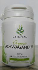 Ashwagandha Organic 500 mg 60 Vegan caps by Cytoplan.
