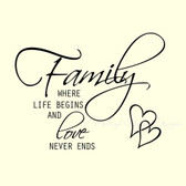 Family where life begins & love never ends vinyl wall art words sticker decor