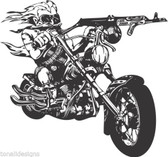 Motor bike wild outlaw bikie gun chopper vinyl wall sticker biker man cave 003