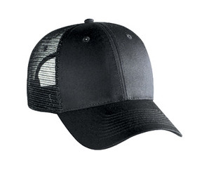 Black 6 panel low profile Trucker Hat Mesh Hat Snapback Hat