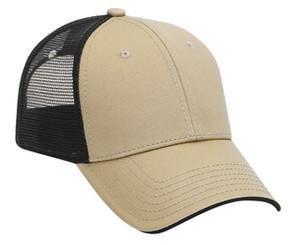 Deluxe low profile tan front black back Trucker Hat Mesh Hat Snapback Hat