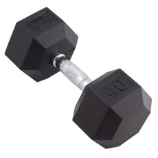 40 LBS BODY SPORT RUBBER ENCASED HEX DUMBBELL