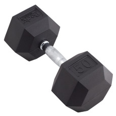 50 LBS BODY SPORT RUBBER ENCASED HEX DUMBBELL