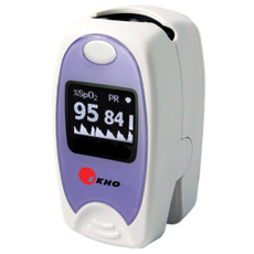 Ekho P-950 Pulse Oximeter Features  • Measures oxygen saturation (SpO2).  • Measures pulse rate (PR).  • Easy to use with 1 key operation.  • Automatic power on/off, with low-battery indicator.  • Bright 0.95 monochrome OLED display.  • Real-Time Pulse Bar Display. • Ultra-lightweight (1.8 oz. or 50 g, including weight of batteries).  • 10 adjustable brightness levels.