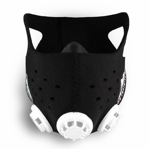 Training Mask 2.0 Features  Training device for breathing and controlled air flow. Promotes increased energy production, anaerobic thresholds, and mental and physical stamina. Conditions lungs to take full, deep breaths that use oxygen more efficiently. Neoprene skin construction and ear straps secure mask to face. Hand wash all training mask materials. Mask includes: silicone training mask and neoprene sleeve, 6 air resistance caps, 3 base pieces with flux valve plungers and instructional booklet. Size: small, medium and large.