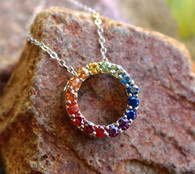 rainbow sapphire circle pendant 1 by michael couch at all that glitters colorado springs co