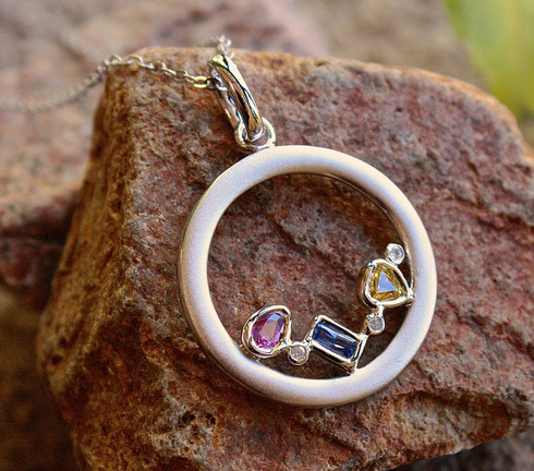 open circle sapphire pendant 1 by michael couch at all that glitters colorado springs co