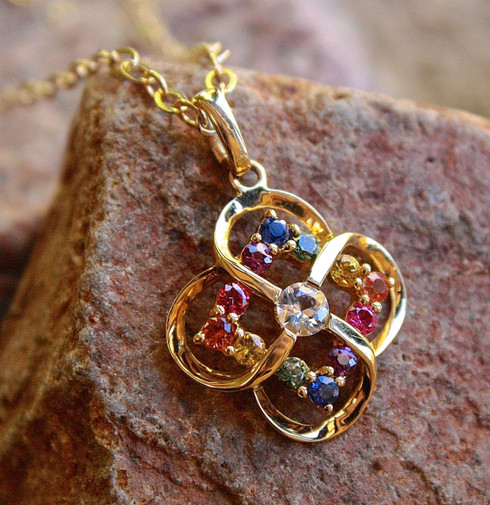 flower sapphire pendant 1 by michael couch at all that glitters colorado springs co