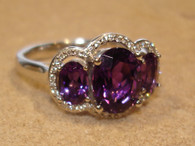 Three Oval  Amethyst and Diamond Ring