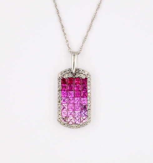 Pink Sapphire and Diamond Ombre Pendant features .30ct tw diamonds and 2 cts pink Sapphires.  Absolutely gorgeous!