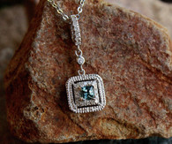 #7998 Blue/Green Sapphire w/ Diamonds Pave Set Pendant