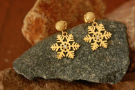 #6957 Handmade Snowflake Earrings 14k Gold w/ Diamond by Steven Powell McHone