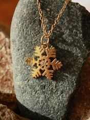 #7713 Handmade Snowflake Yellow Gold w/ Diamond Pendant by Steven Powell McHone