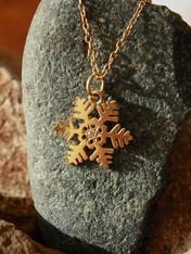 #7713 Handmade Snowflake Yellow Gold w/ Diamond Pendant by Steven Powell McHone