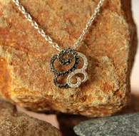 #7937 Black & White Diamond Freeform Pendant