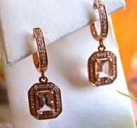 #8320 Morganite w/ Diamonds in Rose Gold Earrings by Vardi