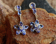 #8821 Star-Shaped Tanzanite Earring w/ Diamonds, 18k White Gold