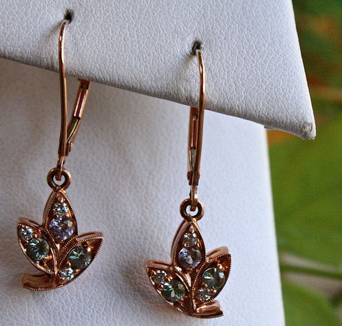 leaf rose gold earrings 1 at all that glitters colorado springs co