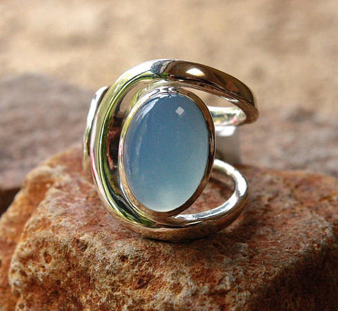chalcedony oval silver ring 1 at all that glitters colorado springs co