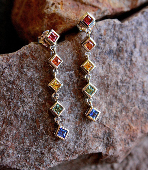 Rainbow Sapphire Dangle Earrings Silver 1 by Michael Couch at All That Glitters Colorado Springs CO