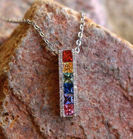 rainbow sapphire & diamond pendant 1 by michael couch at all that glitters colorado springs