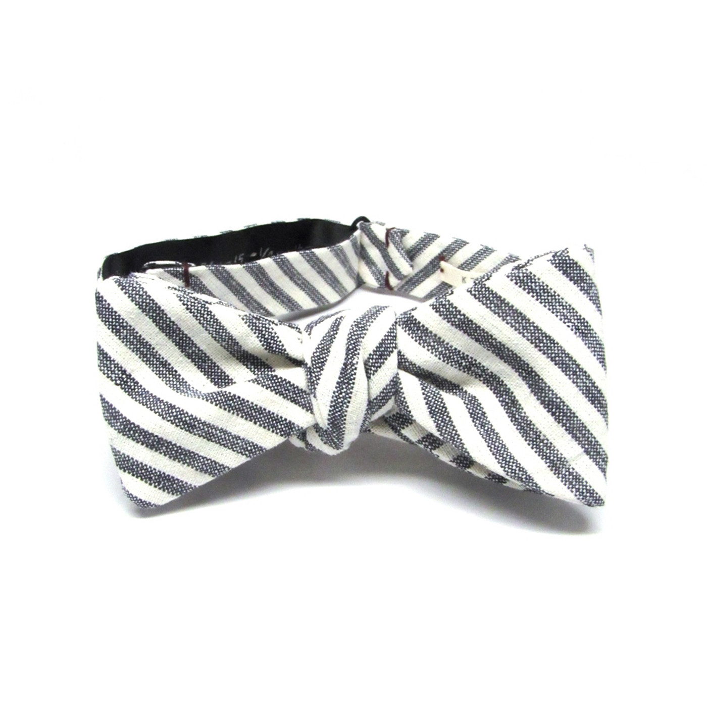 Cream & Charcoal Stripe Bow Tie