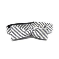 Cream & Charcoal Stripe Bow Tie