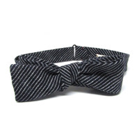 Navy Grounded Stripe Bow Tie