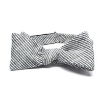 Grey & White Stripe Bow Tie