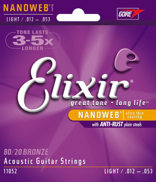 Elixir 11052 Light Acoustic Strings with NANOWEB Coating .012-.053