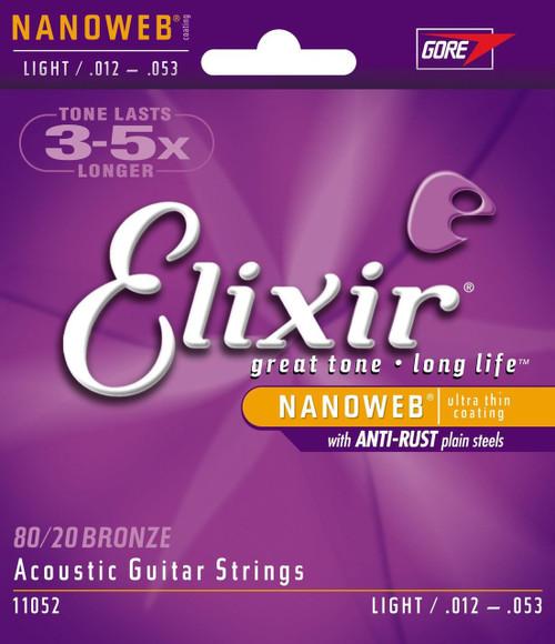 Elixir 11052 Light Acoustic Strings with NANOWEB Coating .012-.053