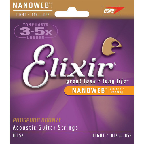 Elixir 16052 Light Acoustic Phosphor Bronze Strings with Ultra Thin NANOWEB coating .012-.053